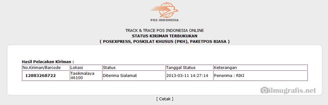 hasil lacak pos indonesia